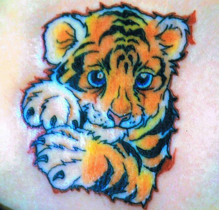 small cute colorful baby tiger tattoo design 1