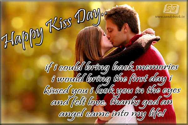 Thanks God an angel came into my life Happy Kiss Day