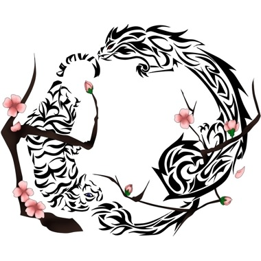 Tiger Dragon In Yin Yang Form Tattoo Design