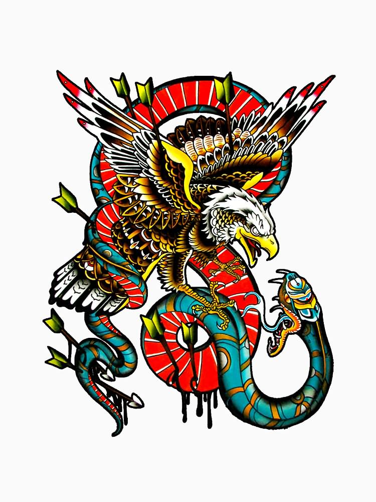 75ce7bdb9 Traditional Eagle VS Snake With Arrows Tattoo Design by DRtattoo