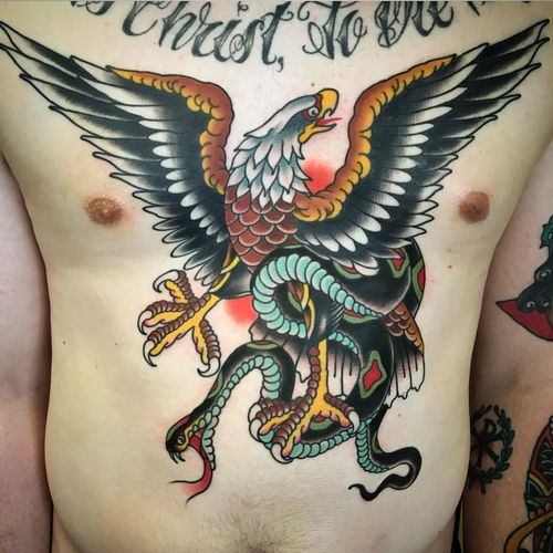 Traditional Eagle With Snake Tattoo Design For Men Chest