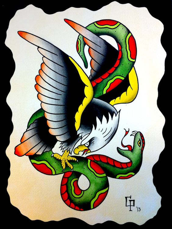 American Traditional Skull And Eagle: 100+ Remarkable Eagle & Snake Tattoos & Designs With Meanings