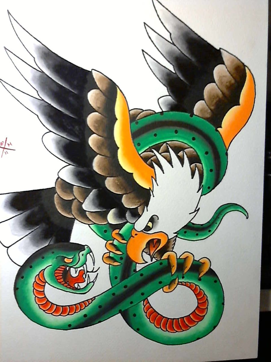 Traditional Style American Bald Eagle Vs. Green Snake Tattoo Design