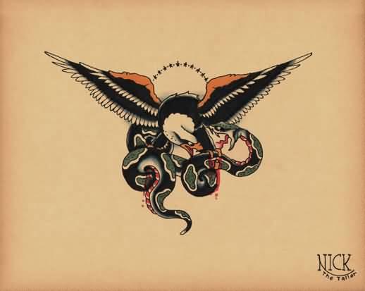 Traditional Style Eagle Vs. Snake Tattoo Design