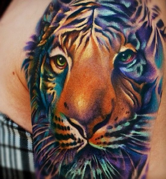 11716b125824a 18+ Best Colorful Tiger Tattoos & Design With Meanings
