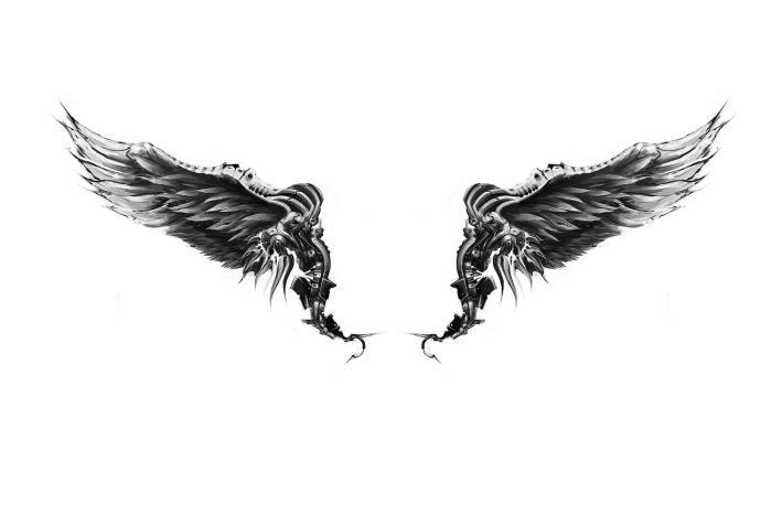 Wonderful Realistic Black & White Eagle Wings Tattoo Design