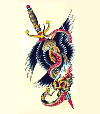 Wonderful Snake And Eagle With Skull And Dagger Tattoo Design