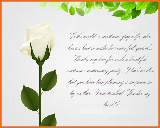 thank you messages for surprise anniversary party