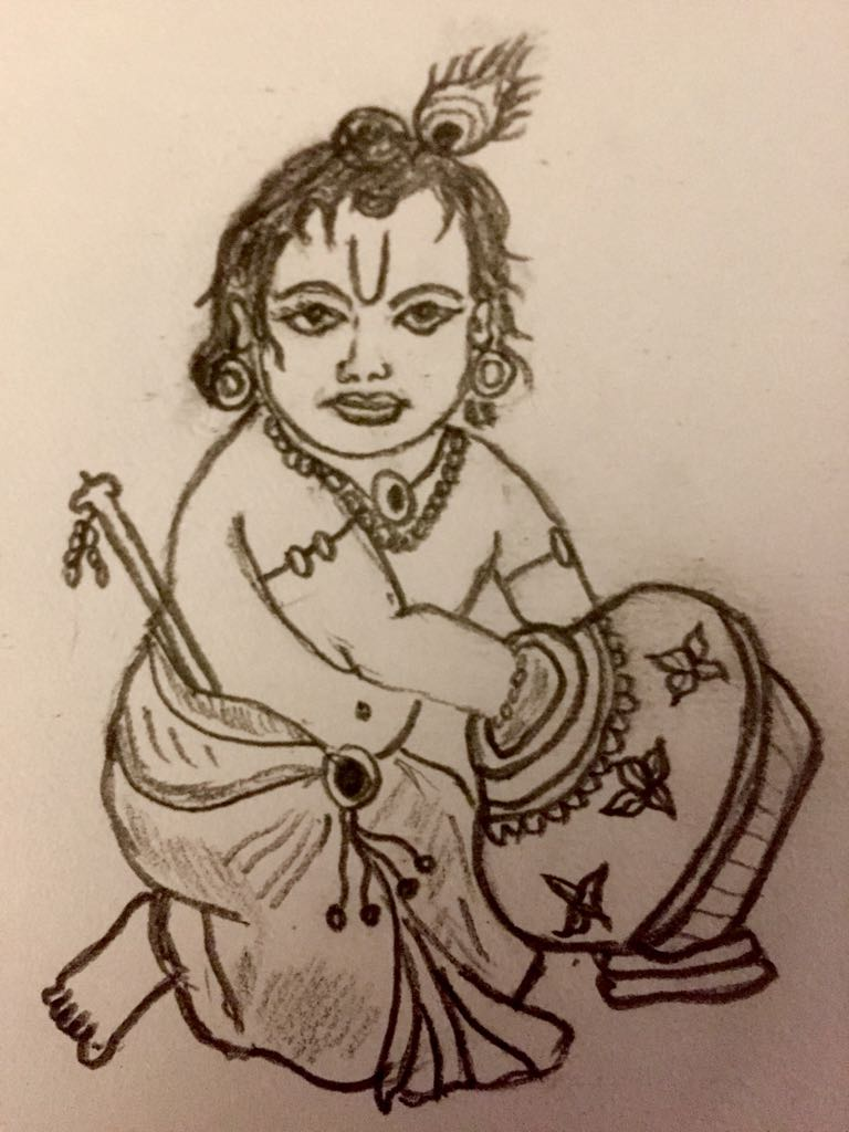 Sri krishna pencil sketch