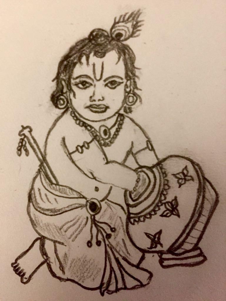 Sri krishna pencil sketch