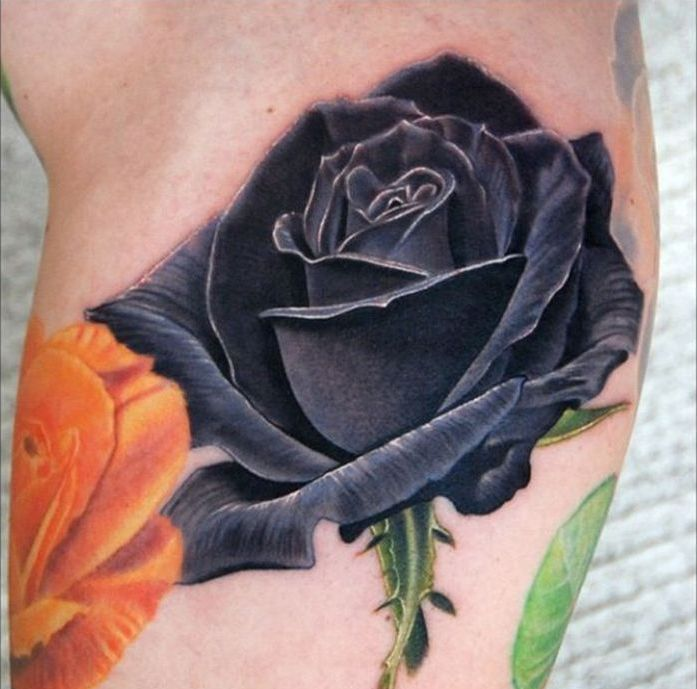 3d Black Rose With Green Stem Tattoo Design