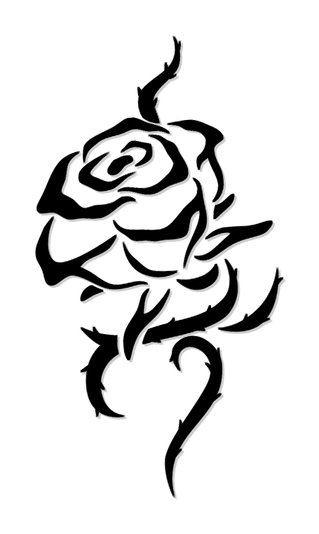 Amazing Black Outline Tribal Rose Tattoo Design