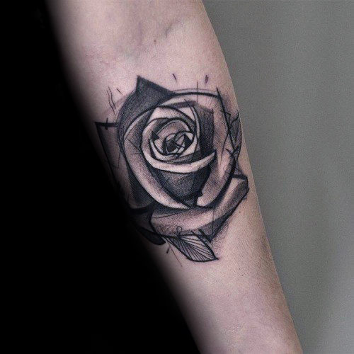 Awesome Black Ink Shaded Rose Tattoo On Forearm