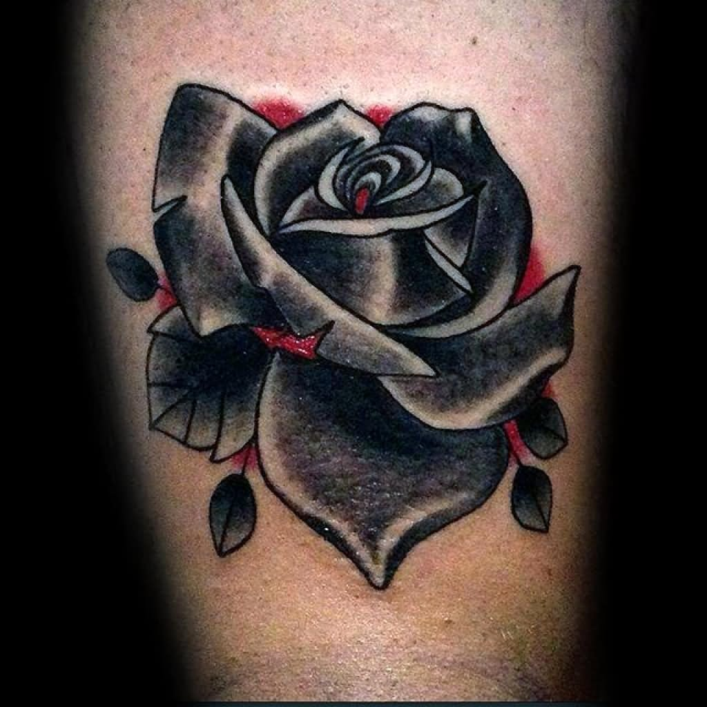 Beautiful Black Rose Tattoo On Arm For Men - Black Rose Tattoo Bicep