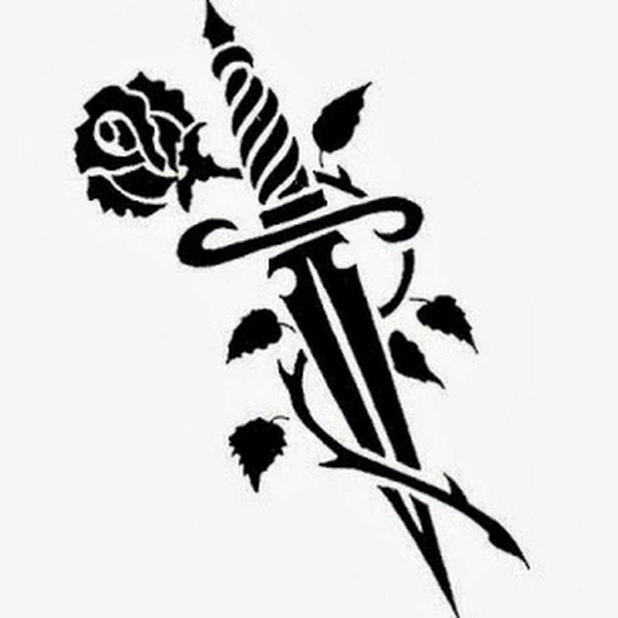 Beautiful Tribal Knife And Rose Tattoo Design