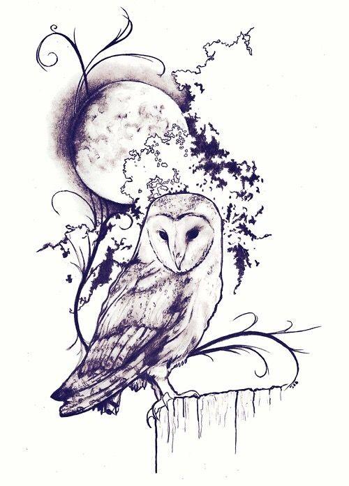Black Grey Shaded Barn Owl Moon Tattoo Design
