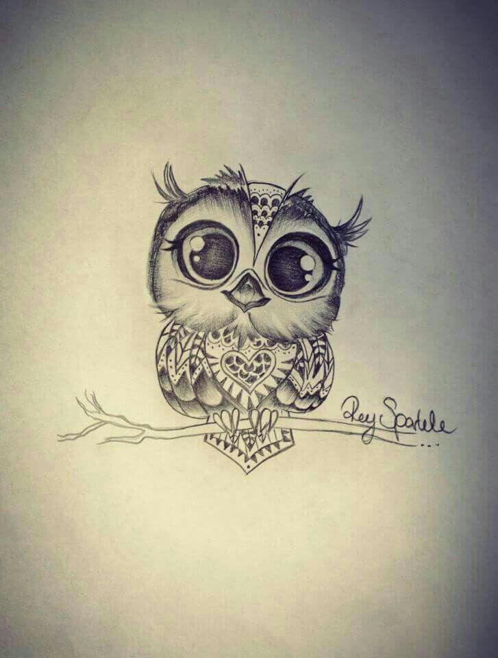 Black Grey Big Eyed Cute Baby Barn Owl Tattoo Design By Rey Sparkle