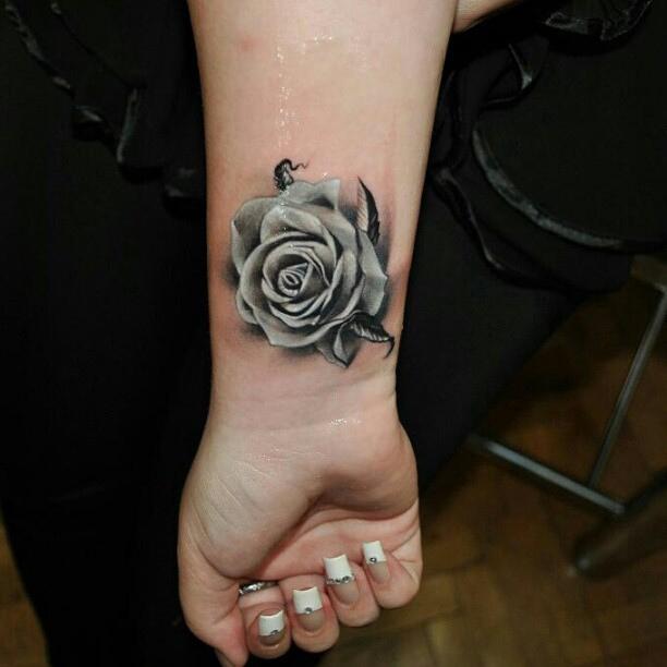 Black Grey Rose Tattoo On Wrist