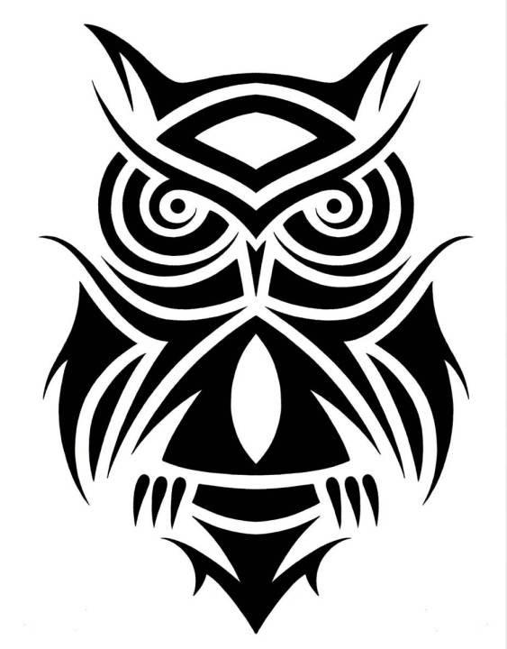 Black Ink Astonishing Tribal Owl Tattoo Design