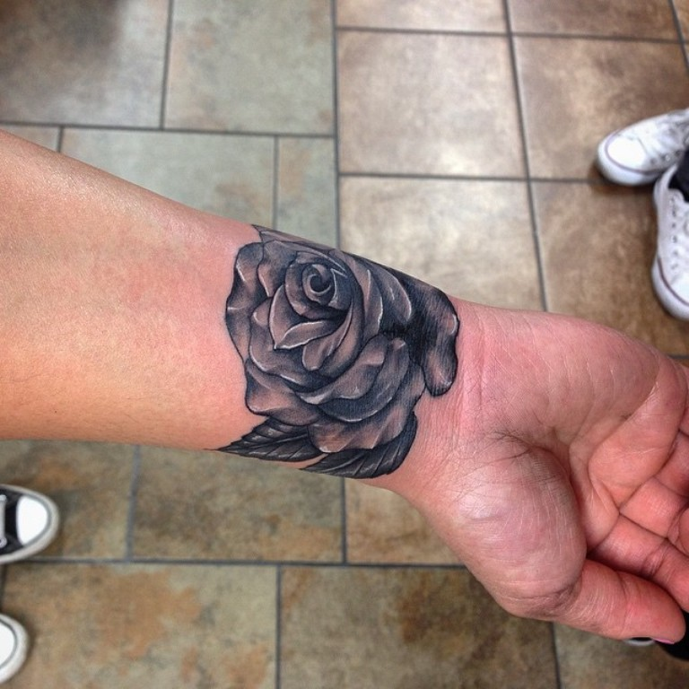 Black Rose Wrist Tattoo Design For Men