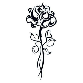 Black Tribal Rose With Stem Tattoo Design