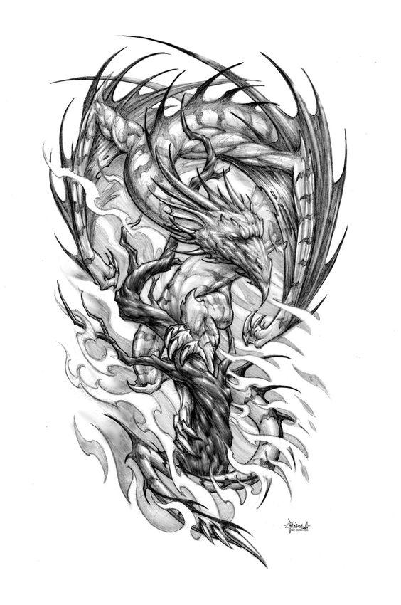 Black White Dragon Phoenix Tattoo Design