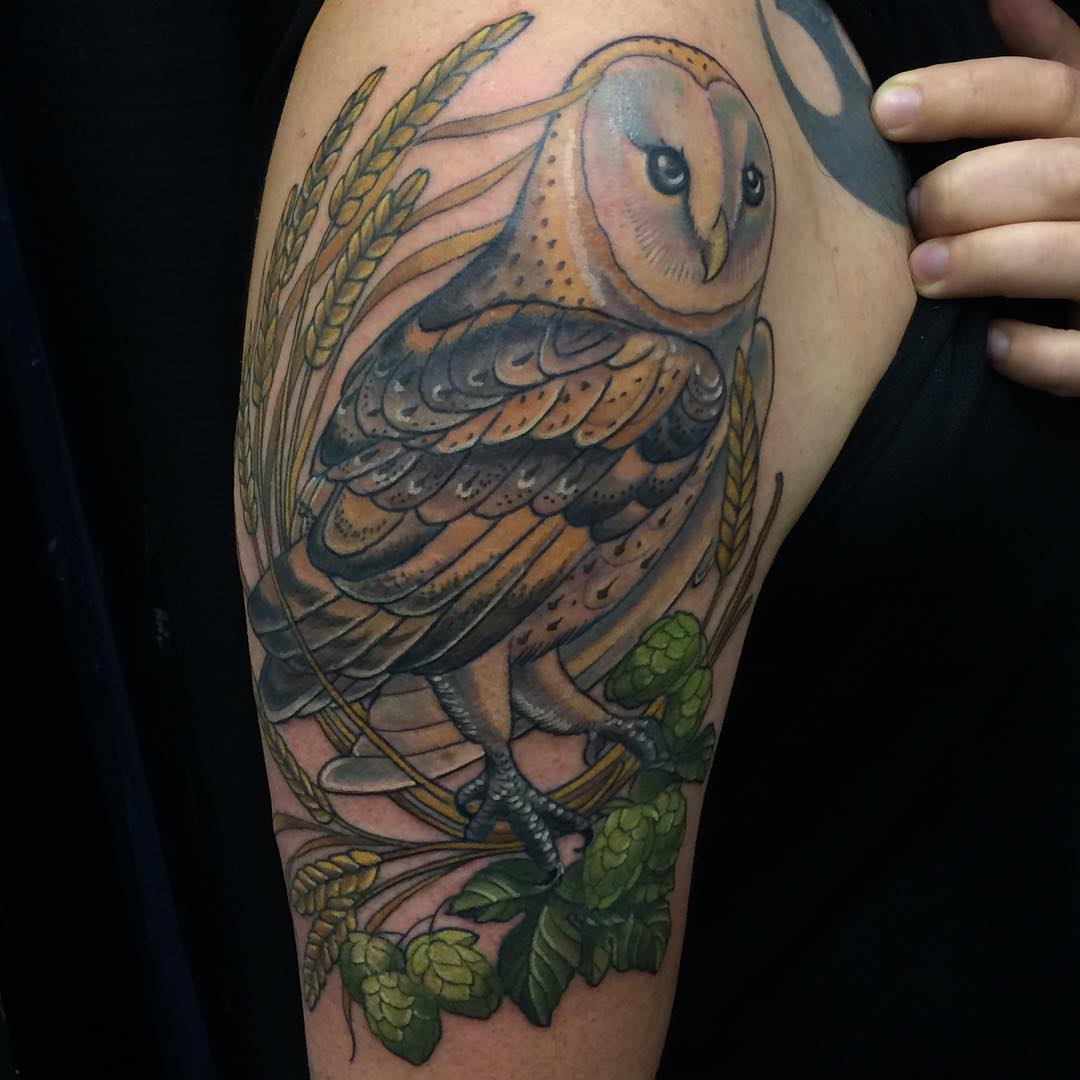 cd6a4631aa1f8 Colored Barn Owl With Branches & Leaves Tattoo On Half Sleeve