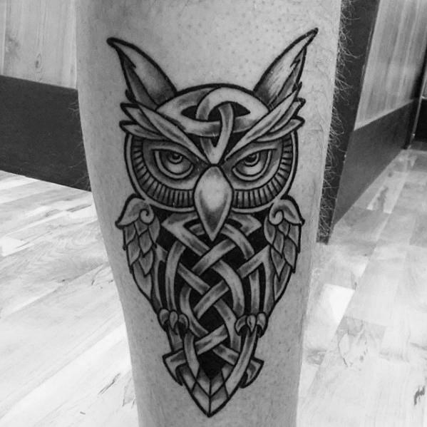Cool Celtic Owl Tattoo Design On Leg For Men