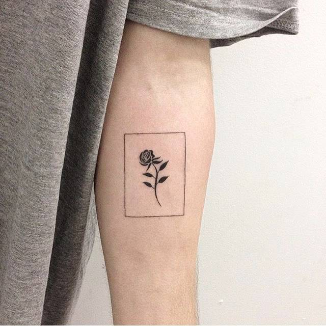 Cute Small Black Rose Tattoo On Inner Forearm