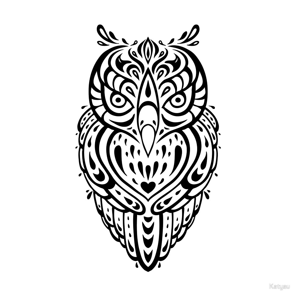 Decorative Tribal Pattern Ethnic Owl Tattoo Design By Katyau