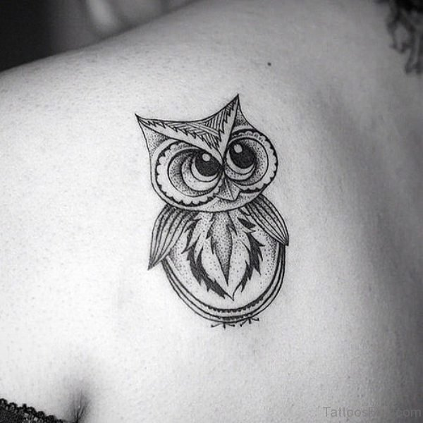 Fantastic Black White Baby Owl Tattoo On Girl Back Shoulder