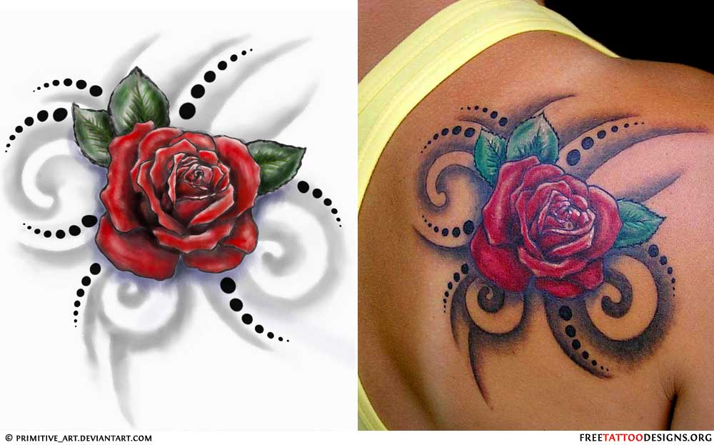 75 tribal rose tattoo ideas designs for Rose tattoo on back shoulder
