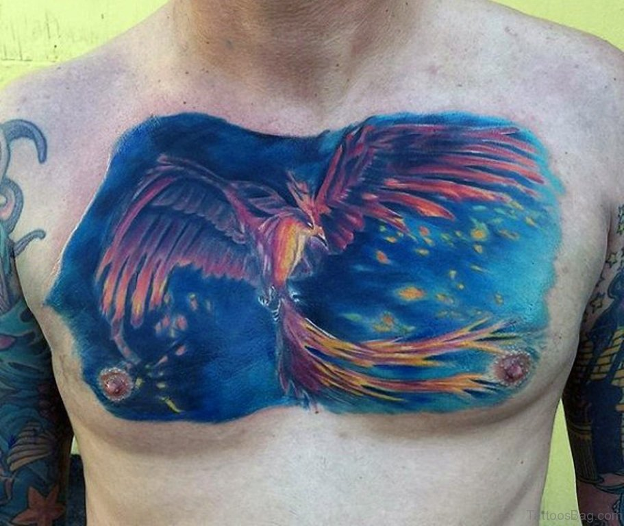 Flying Orange Phoenix With Blue Background Tattoo On Chest For Men