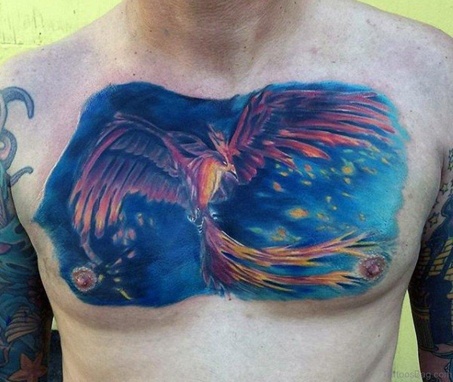 flying orange phoenix with blue background tattoo on chest for men. Black Bedroom Furniture Sets. Home Design Ideas
