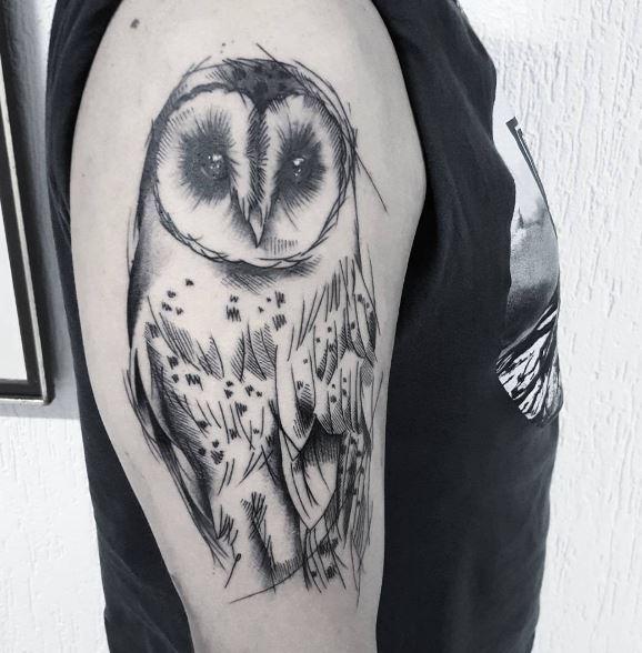 grey ink shaded barn owl tattoo on half sleeve. Black Bedroom Furniture Sets. Home Design Ideas