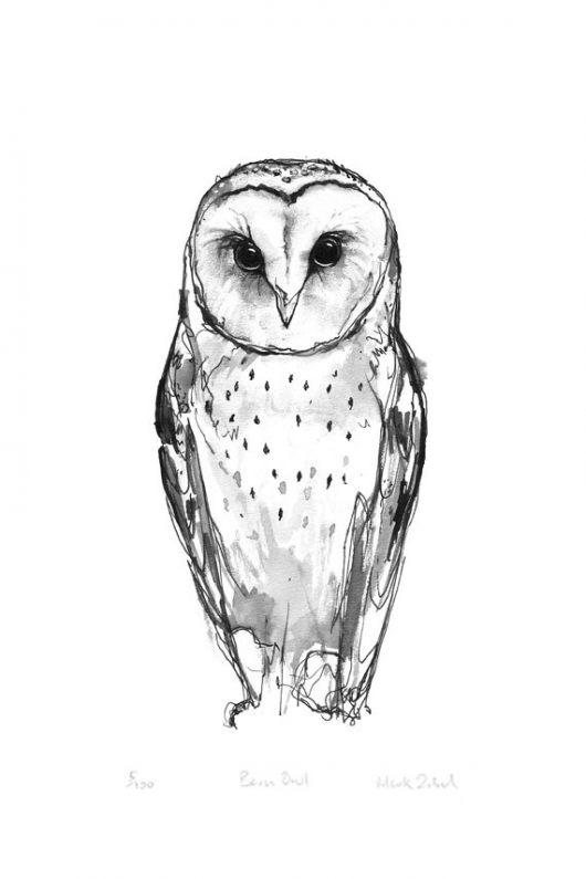 Grey White Simple Barn Owl Tattoo Design