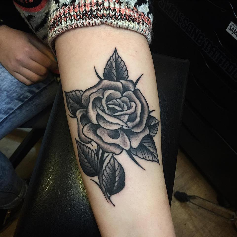 Impressive Black Rose Tattoo On Forearm By Samuele Briganti