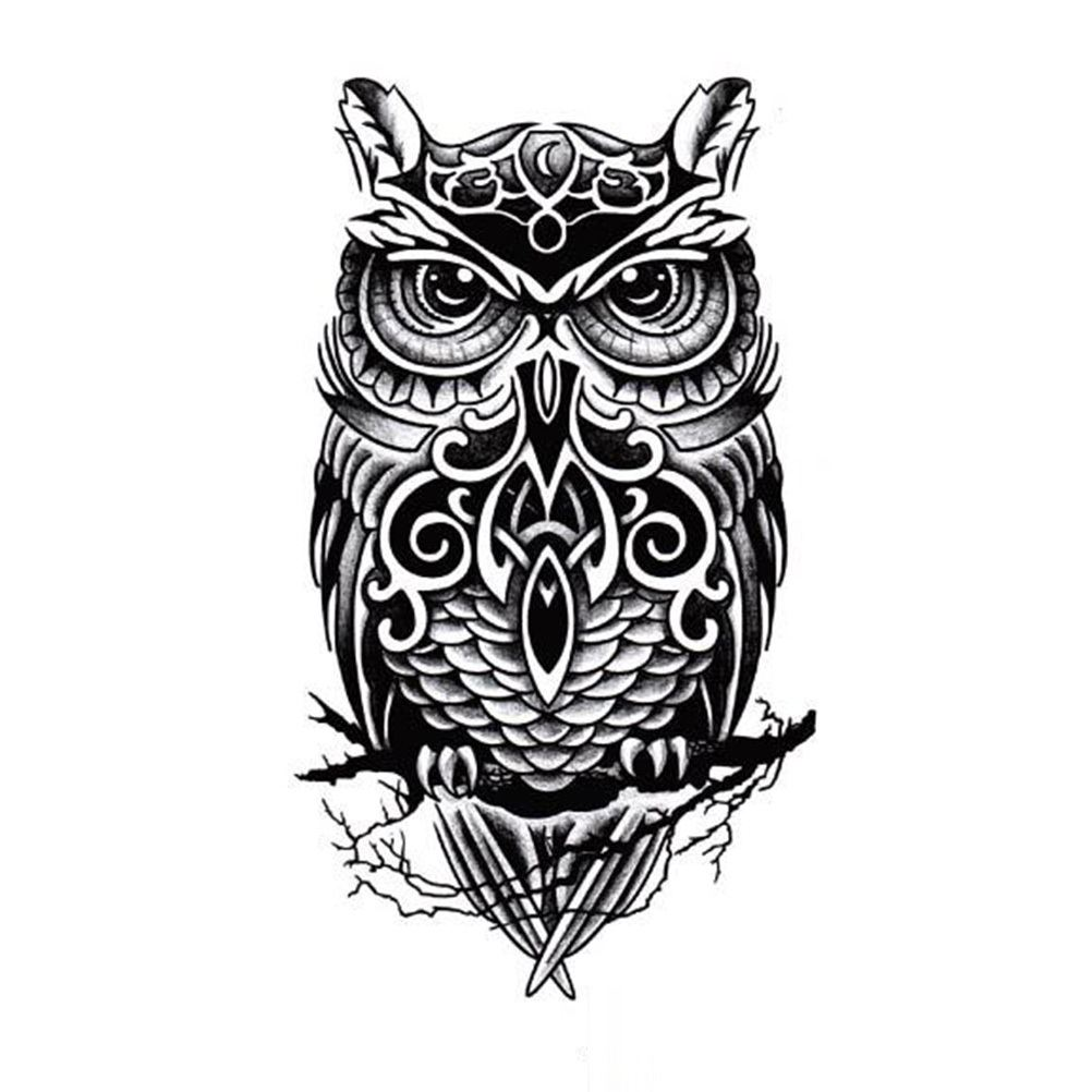 Mind Blowing Black White Sitting Tribal Owl Tattoo Design For Men