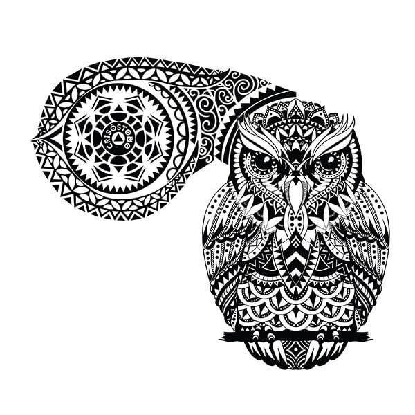 1a7ec0984 Polynesian Tribal Sitting Owl Tattoo Design
