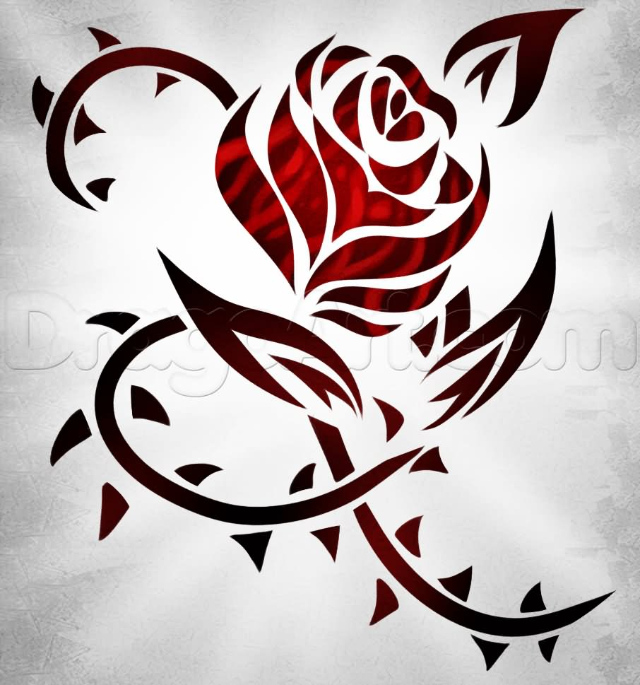 Red Ink Tribal Rose Tattoo Design By DragoArt