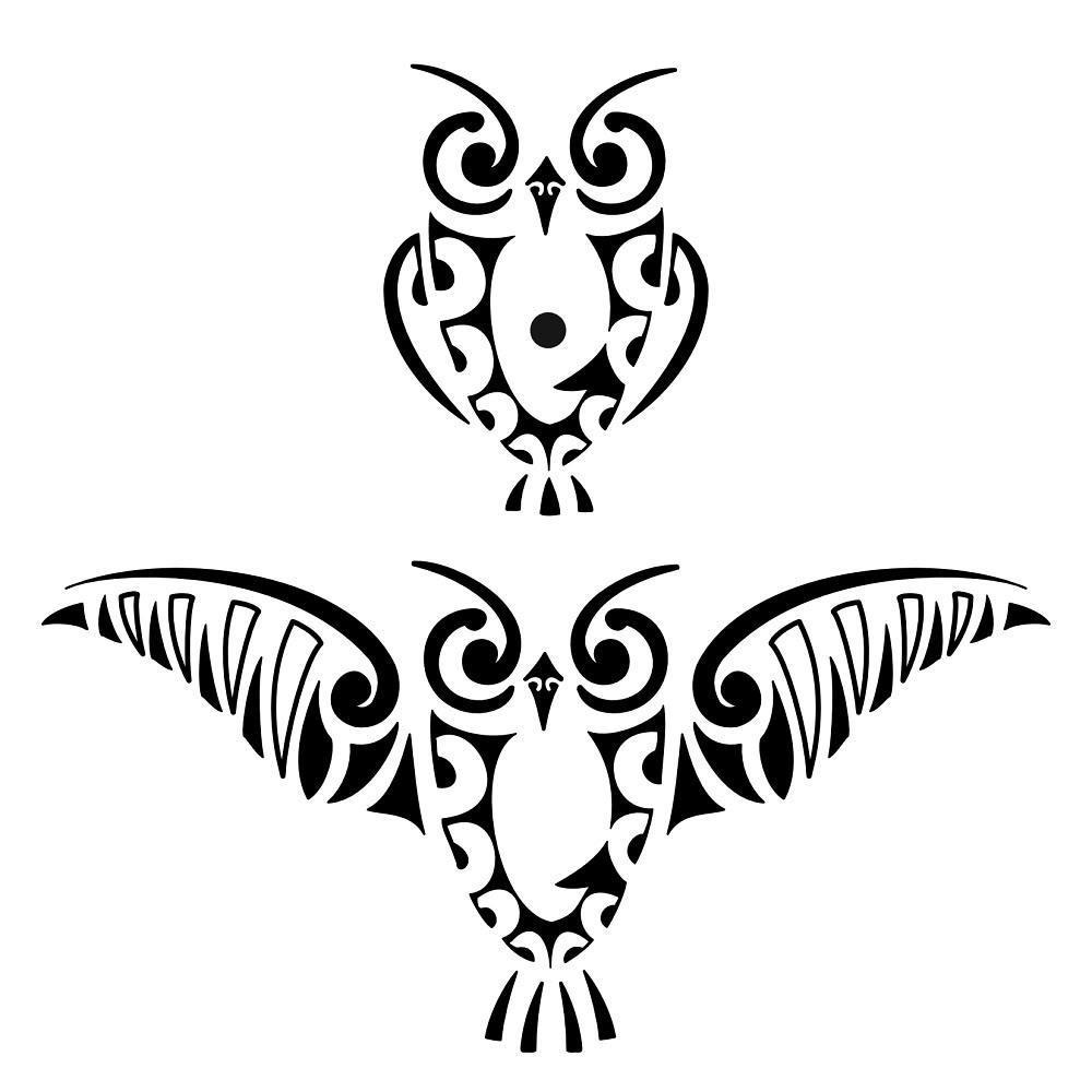 Simple Black Ink Maori Owl Tattoo Designs