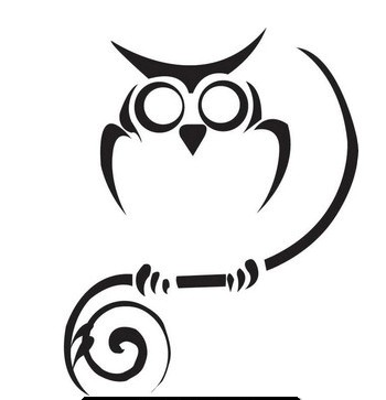 Simple Black Ink Tribal Owl Tattoo Design