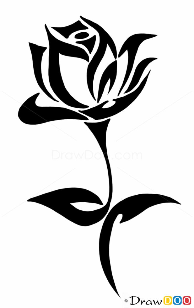 Black Line Drawing Tattoos : Tribal rose tattoo ideas designs