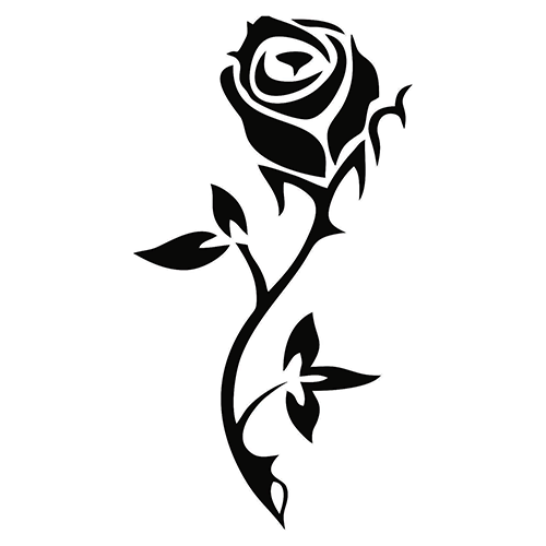 Simple Elegant Black Tribal Rose Tattoo Design