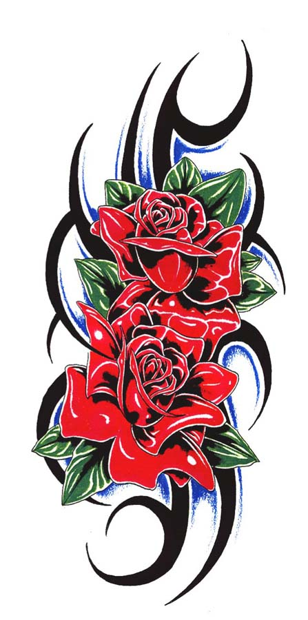 3ec5d4703f803 Tribal Red Roses Tattoo Design With Green Leaves