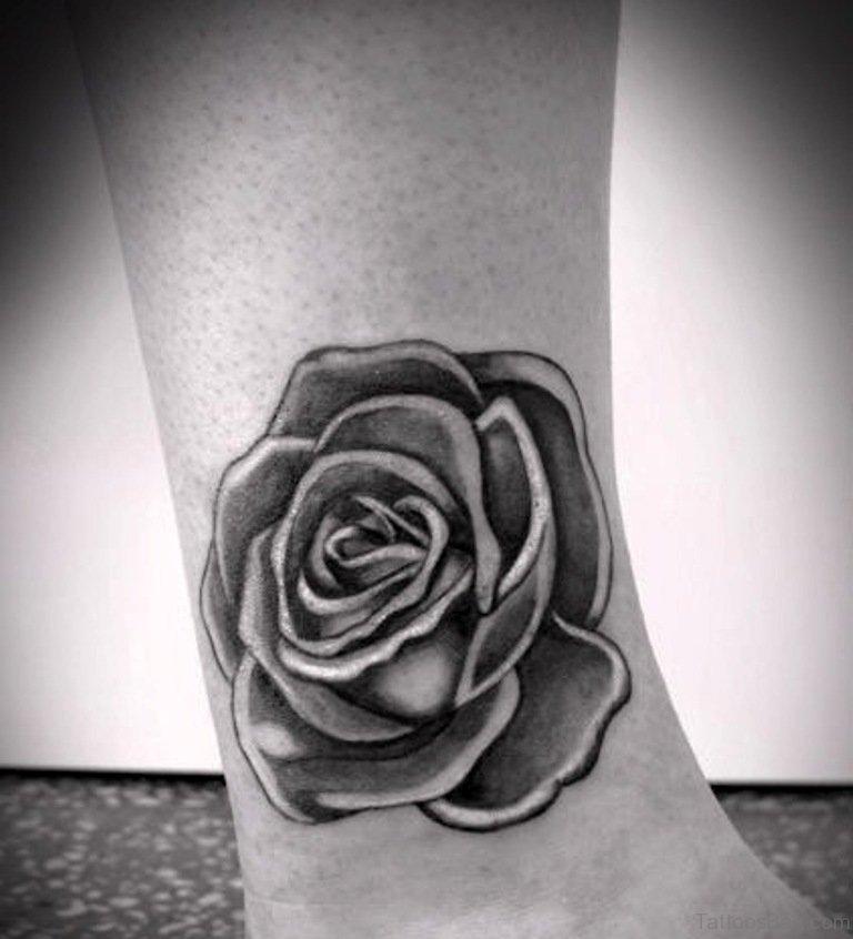 Wonderful Black Rose Ankle Tattoo For Girls
