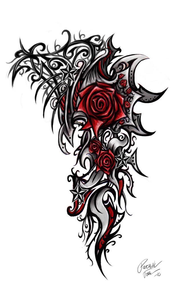 wonderful red roses with black grey tribal tattoo design. Black Bedroom Furniture Sets. Home Design Ideas
