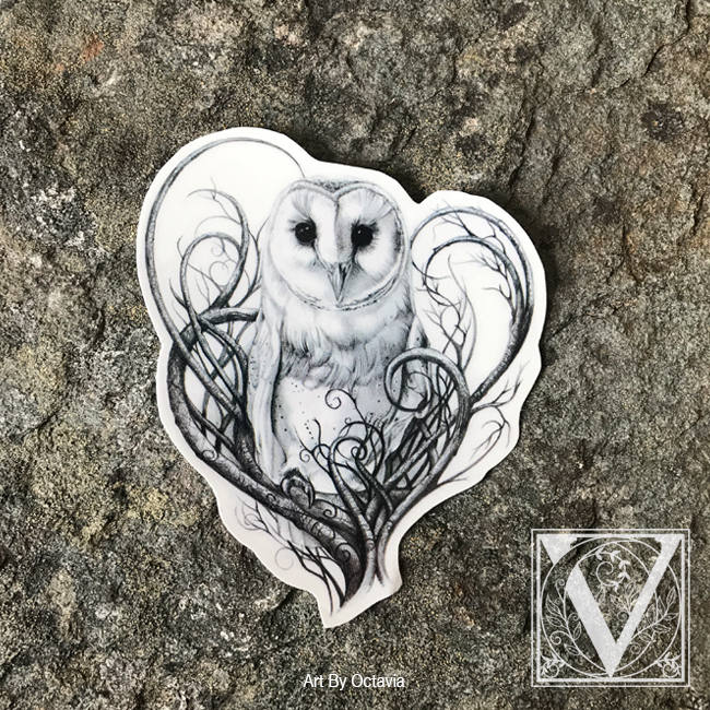 Wonderful White Barn Owl With Branches Tattoo Design