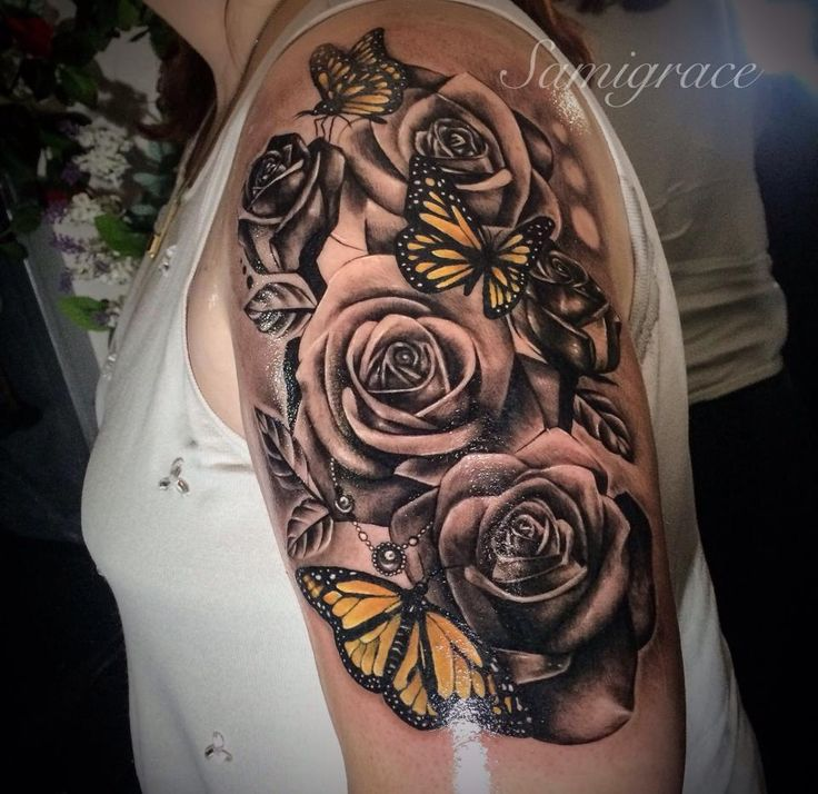 489ed8c200b5f Beautiful 3D Grey Ink Roses With Colored Realistic Butterflies Tattoo On  Girl Shoulder & Half Sleeve ...