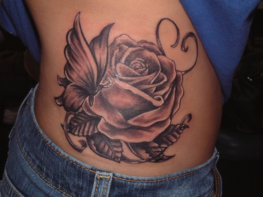 Rose Tattoo Side Black: 60+ Amazing Rose & Butterfly Tattoos & Designs With Meanings
